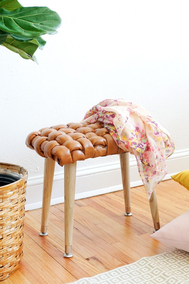DIY woven leather stool - sugar and cloth
