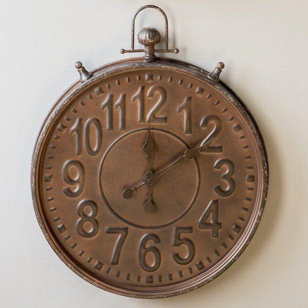 Clocks Decor Objects Large Wall Clock Pocket Watch Retro Vintage Style