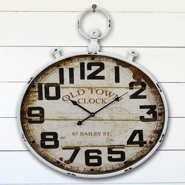 Pale Rimmed Rustic Clock