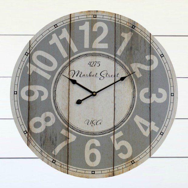 Rustic Wood Plank Wall Clock