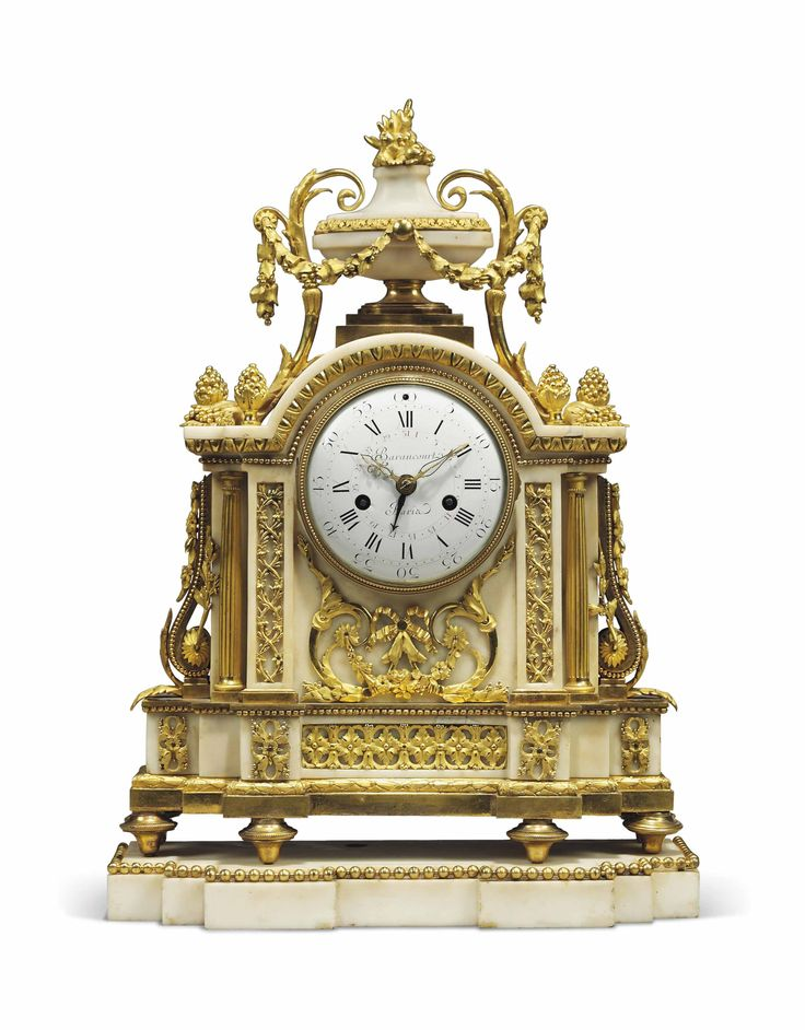 date unspecified A LOUIS XVI ORMOLU AND WHITE MARBLE STRIKING MANTEL CLOCK BARAN...