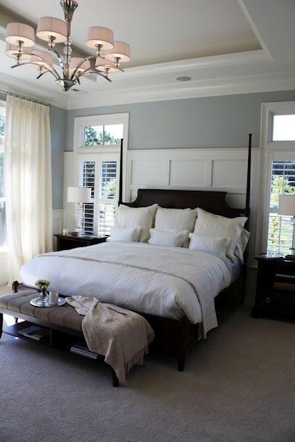 Paneled Headboard Wall, going to do this in master bedroom, love the wall color ...