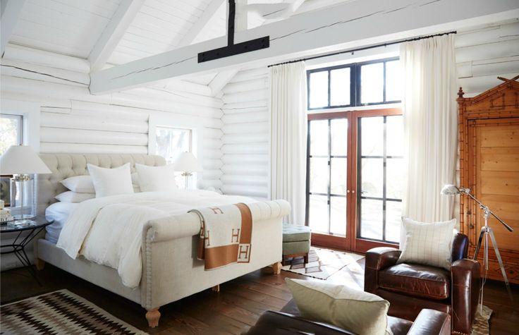 White Hot Home in Sonoma. Very rustic style bedroom in log cabin, white painted ...