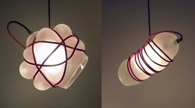 These hand-blown glass pendant lamps look like they're all wrapped up // Bou...