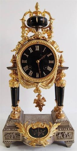 Antique clock 19thc French 2 tone gold & silver gilt Portico 8 day mantle clock