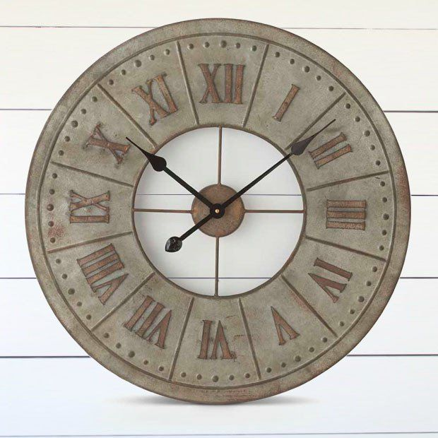 Rusty Roman Numeral Tin Wall Clock