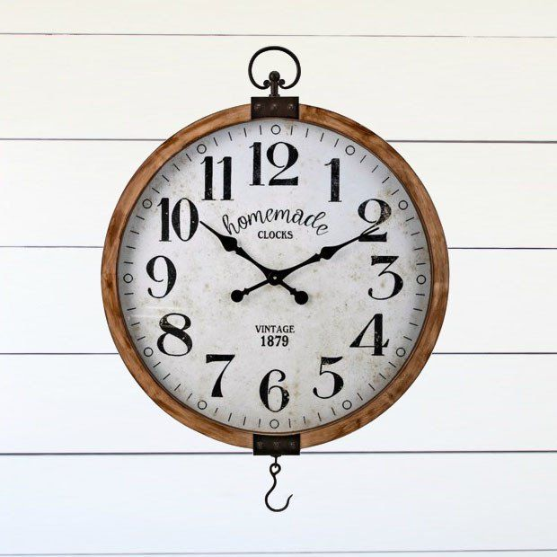 Wood Frame Round Clock With Hook