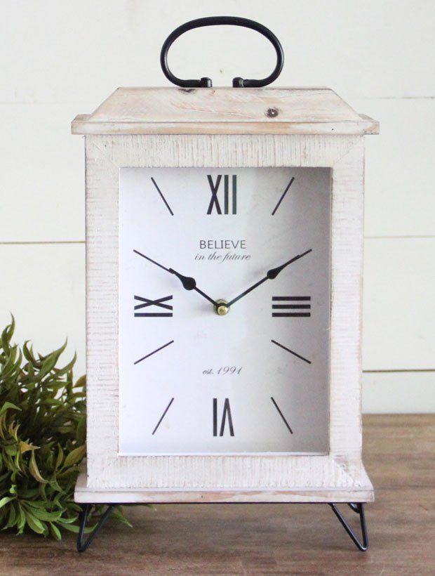 Wooden Farmhouse Tabletop Clock