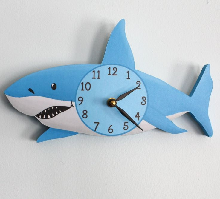 Shark Wooden WALL CLOCK for Kids Bedroom Baby Nursery WC0072