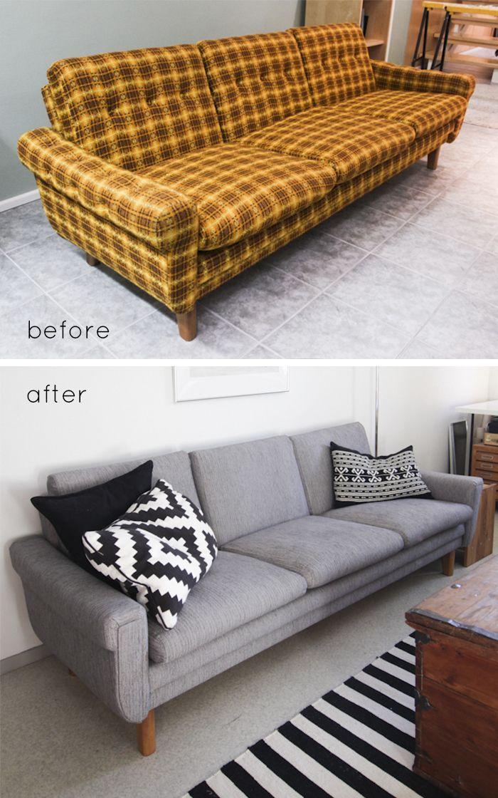 Reupholstering a sofa retro | retro sofa re-upholstery