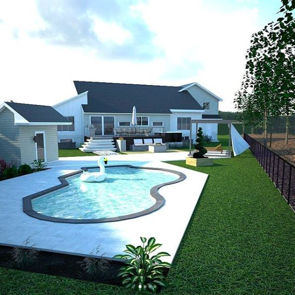 Plan d'aménagement extérieur 3D. Inspiration cours arrière. Piscine creus...