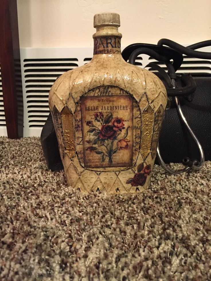 Decorative Bottles Crown Royal Bottle Painted And