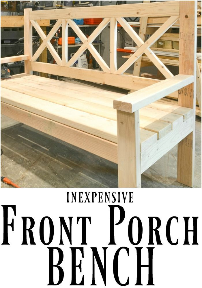 This DIY front porch bench is not only beautiful, but it is huge! Perfect for la...