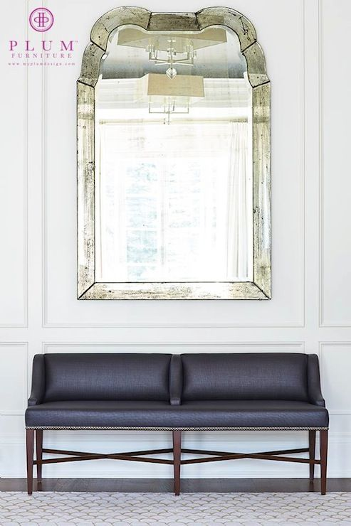 Plum Furniture - entrances/foyers - The Isabella Bench, antiqued mirror, large a...