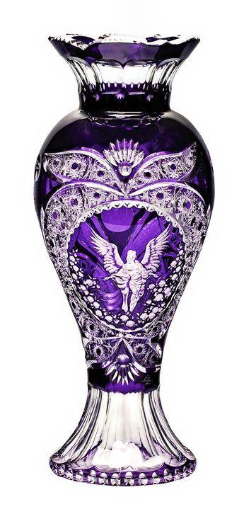 Footed Violet Vase with Angel Engraving