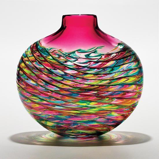 Optic Rib Flat Vase by Michael Trimpol and Monique LaJeunesse (Art Glass Vase