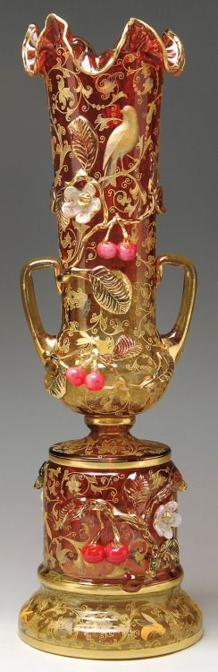 Ornate Moser bohemian glass vase, late 19th century.