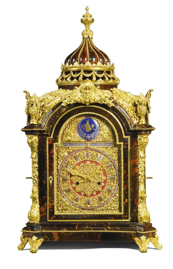 SOLD. 74,500 GBP - A large gilt-mounted turtleshell musical table clock for the ...