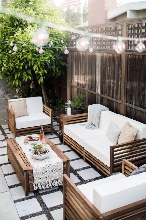 A Modern Tropical California Outdoor Living Room.