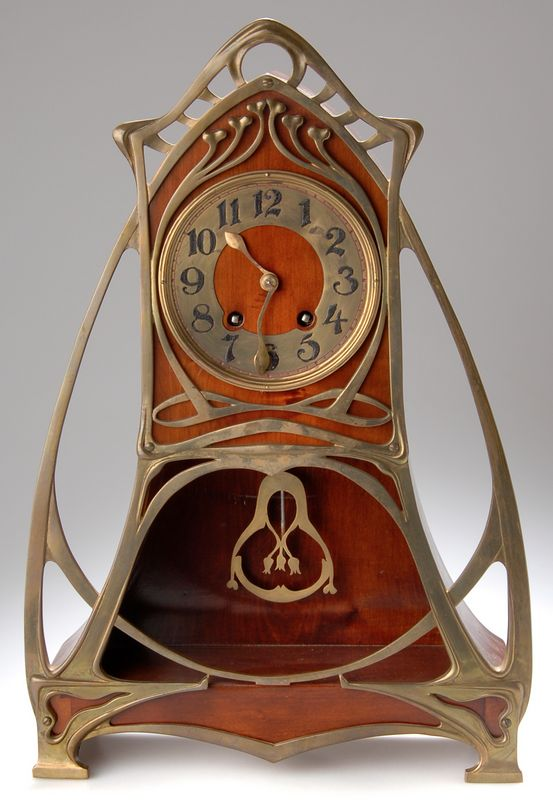 German Art Nouveau table clock, Stock Company for Uhrenfabrikation Lenzkirch, Bl...