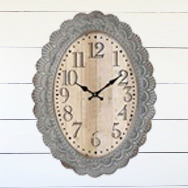 Scalloped Edge Oval Wall Clock