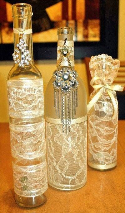 Decorative Bottles Lace Covered Jars And Bottles