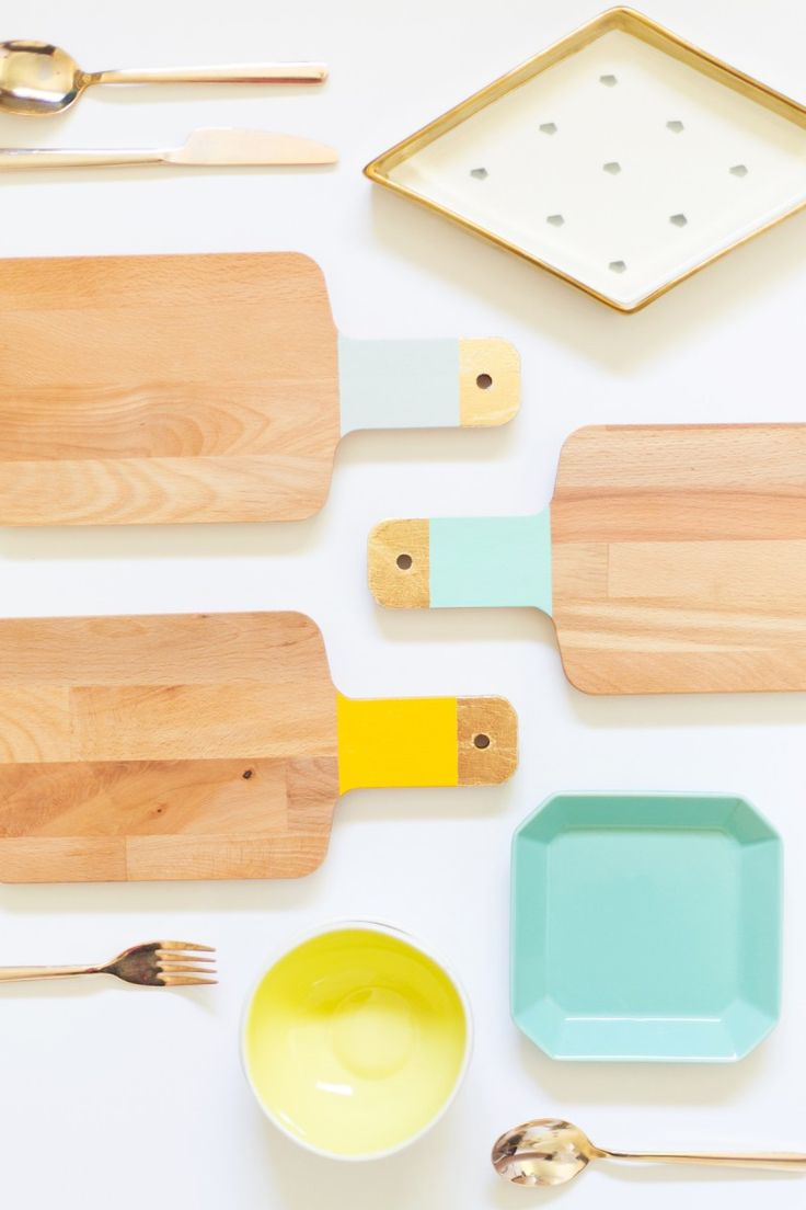 Home Decor Diy S Diy Gold Colorblock Cutting Boards Decor