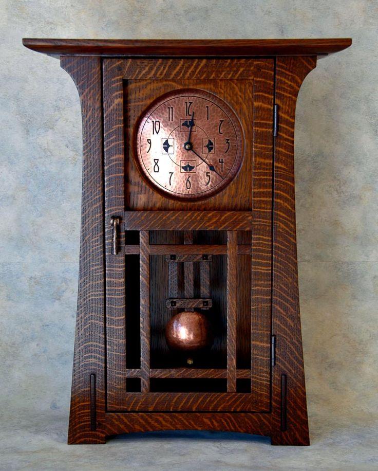 The Arts & Crafts Studio - Arts & Crafts Clock. Quartersawn Oak with Hammered Co...