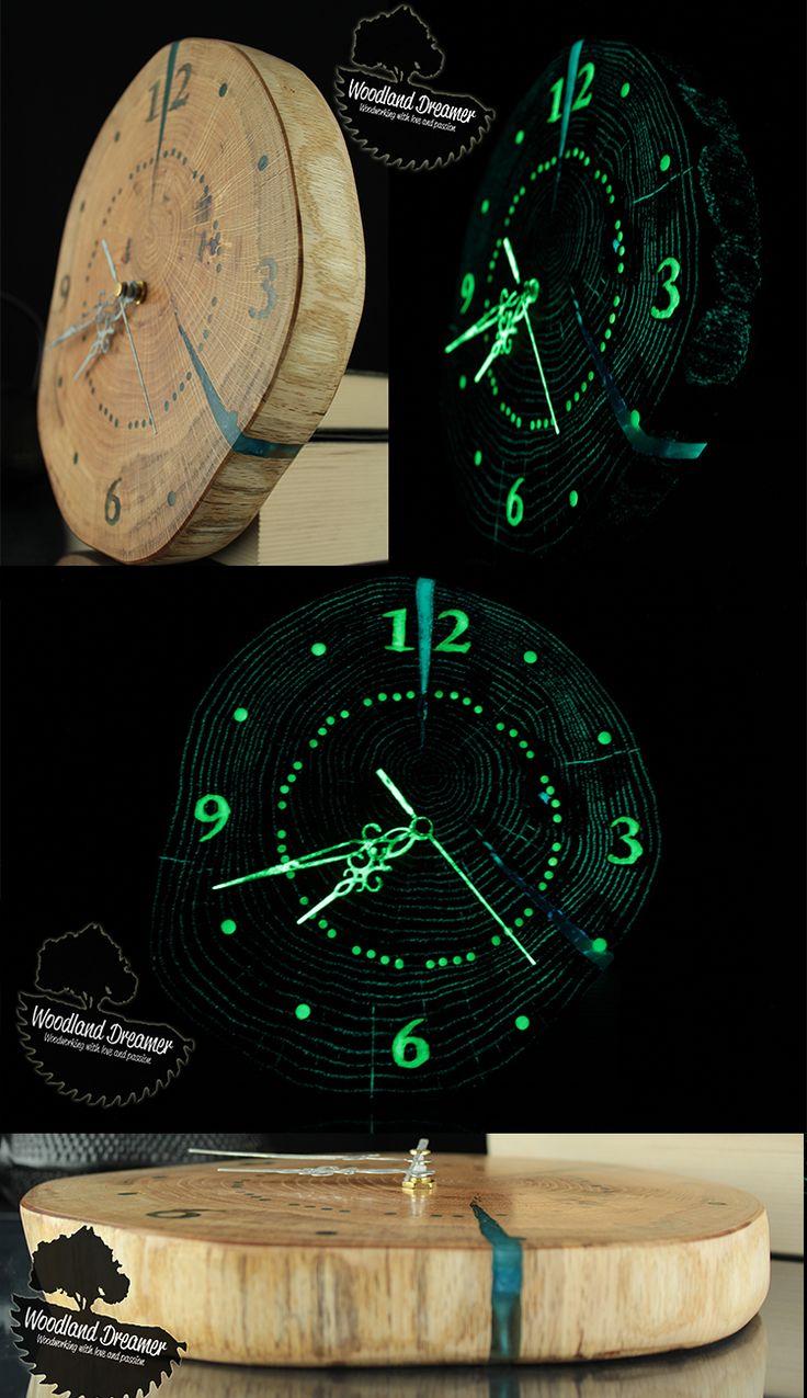 Unique Wall Clocks, Personalized Wall Clocks, Custom Wall Clocks, Glow in the Dark Clock, Live Edge Clock, Wooden Clocks, Wood Slice Clock