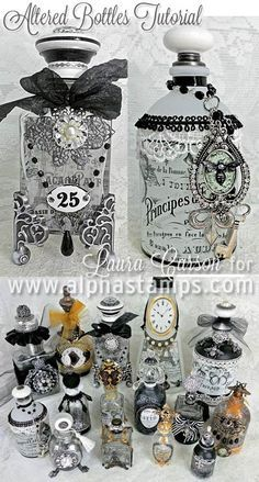 Alpha Stamps News » French-Themed Altered Bottles by Laura Carson