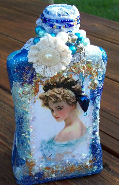 Altered Harrison Fisher Bottle ~ PLUS Free Harrison Fisher Images to Use!