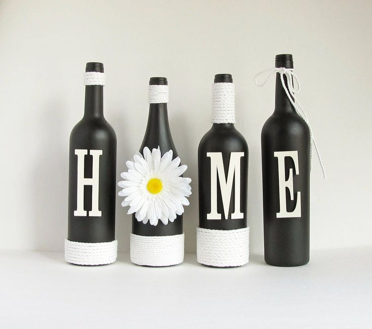 Black Home Wine Bottle Set, Home Bottle Set, Rustic Bottle Set, Twine Wrapped, Painted Bottles, Wine Bottle Decor, Country Decor