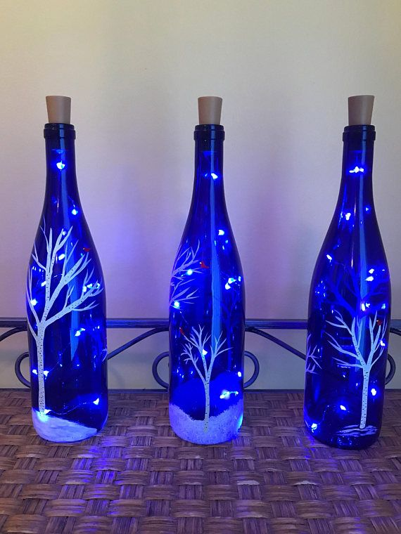 Handpainted Lighted Blue Wine Bottle with Birch trees and