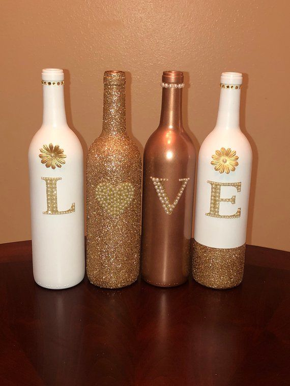 Rose Gold and White LOVE Decorative Wine Bottle Set