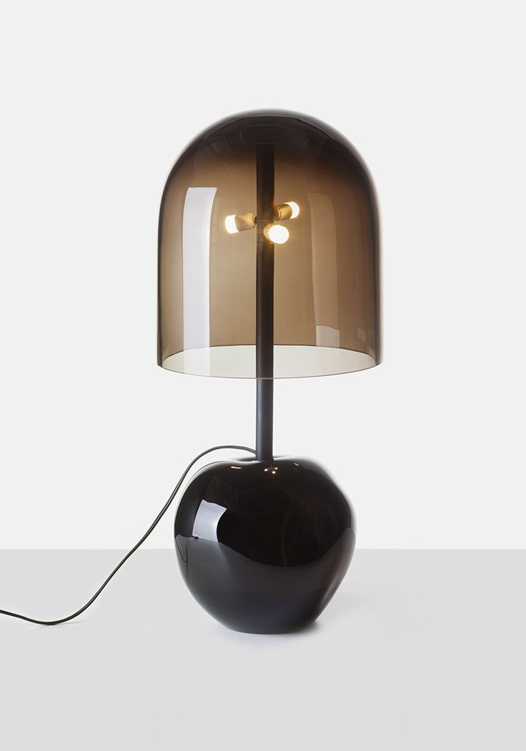 Antimatter floor lamp features a black glass base and a sanded glass shade in s...