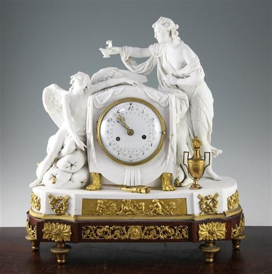 A 19th century French ormolu mounted biscuit porcelain mantel clock, by Gavelle ...