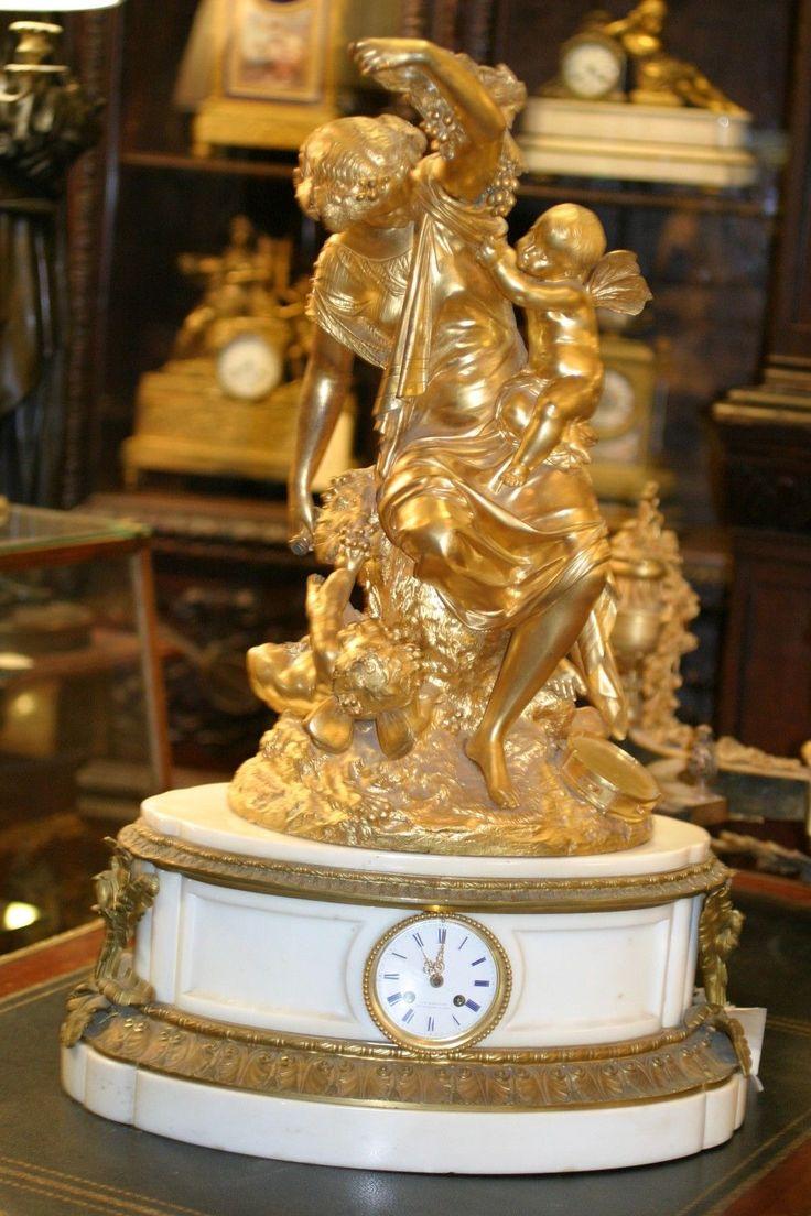 Details about ANTIQUE PALATIAL FRENCH GILDED BRONZE MANTEL CLOCK, C.1880 CHERUBS,S. MOREAU