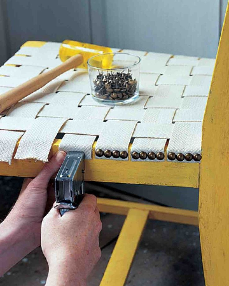 Webbed Seat -- how to weave and secure a new seat on an old chair. #diyfurniture...