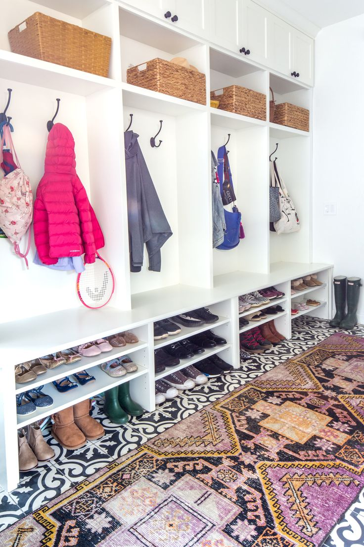 Mudroom Closet With Vintage Rug