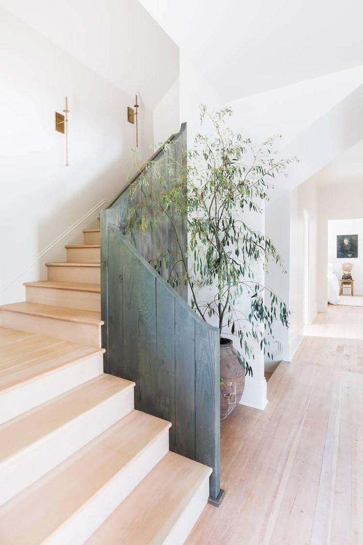 Rustic modern wooden stair rail