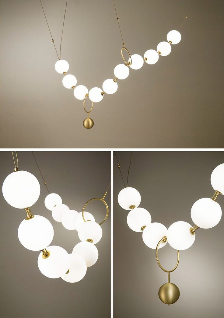 This sculptural light by Larose Guyon was inspired by a string of pearls, paying...