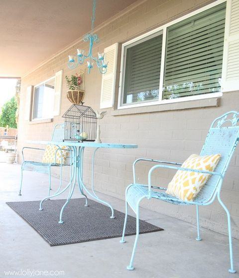 Front porch inspiration! Love these blue painted chairs