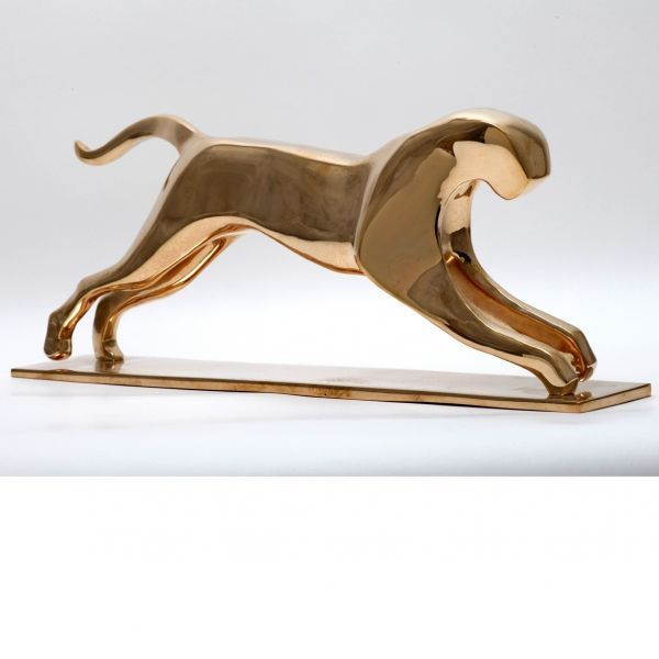 #Bronze #sculpture by #sculptor �gnes Nagy titled: 'Jumping Jaguar (Bronze sty...