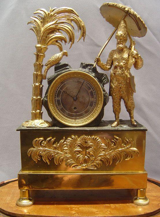 French Directoire Empire clock depicting Daniel Defoe's Robinson Crusoe 1810