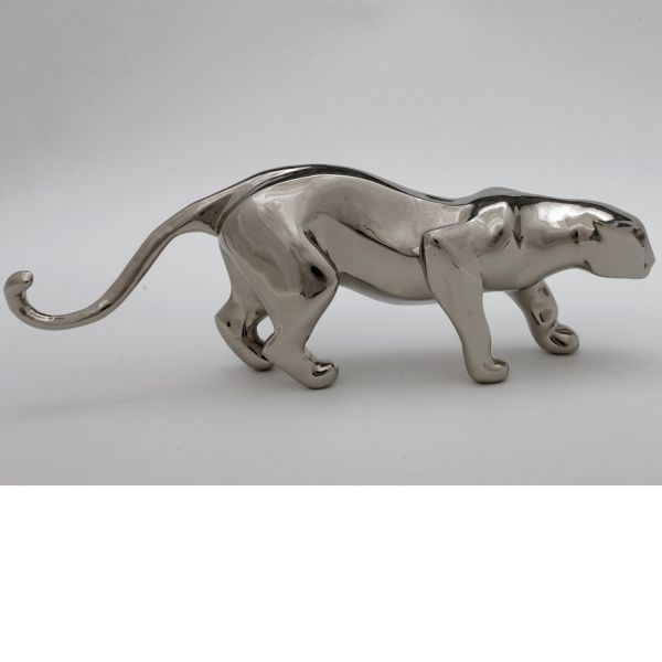 #Bronze #sculpture by #sculptor �gnes Nagy titled: 'Crawling Jaguar (Small Bro...
