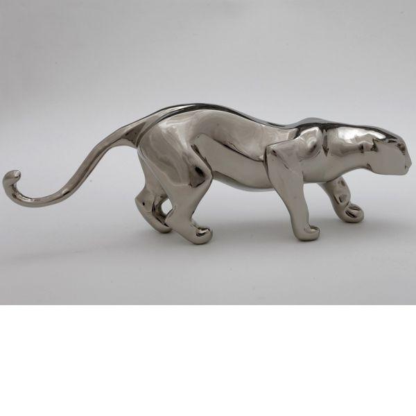 #Bronze #sculpture by #sculptor �gnes Nagy titled: 'Crawling Jaguar (Small Bro...