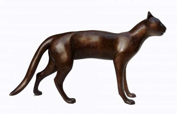 #Bronze #sculpture by #sculptor Dido Crosby titled: 'Smooth Cat (life size Walki...