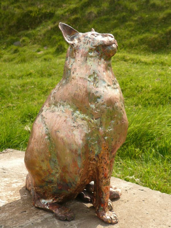 L #copper #sculpture by #sculptor Lynn Mahoney titled: 'pussy cat pussy cat wher...