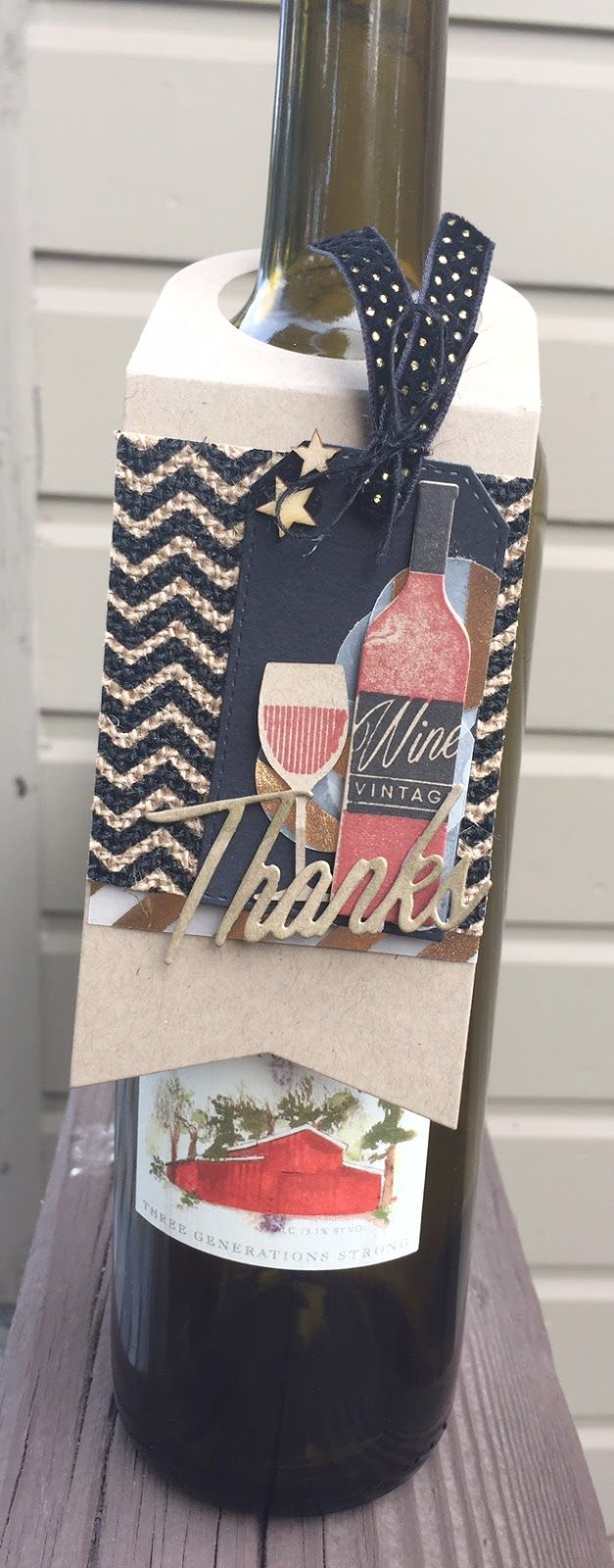 Homemade Cards by Erin: thanks wine tag