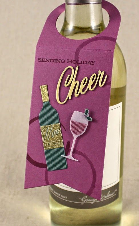 Sending Holiday Cheer Wine Bottle Tag by Lizzie Jones for Papertrey Ink (Decembe...